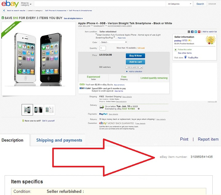 The eBay Item Number is Located Somewhere on The Right Side of The Page, Next to the Item Information.